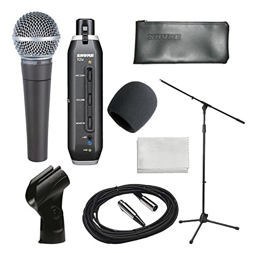 (Shure Home Recording Studio Start-up Kit With Shure SM58 Vocal Microphone, Shure X2U XLR-to-USB Audio Interface, 20-Foot XLR Cable, Boom Stand, Windsc)