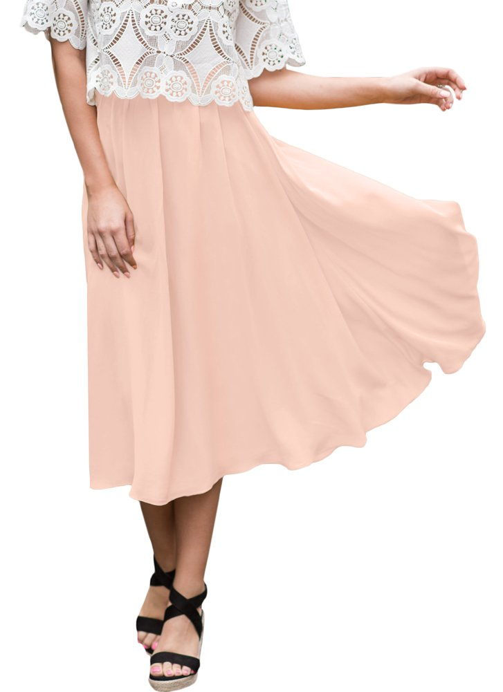 For G and PL Womens Elastic Waist Chiffon Solid Color Swing Flowy Flared Loose Casual Midi Skirt Pink XL