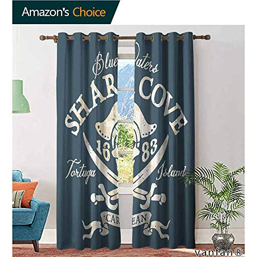 (LQQBSTORAGE Pirate,Curtains & Drapes Tropical,Shark Cove Tortuga Island Caribbean Waters Retro Jolly Roger,Curtains Girls Bedroom,Slate Blue White Light Mustard)