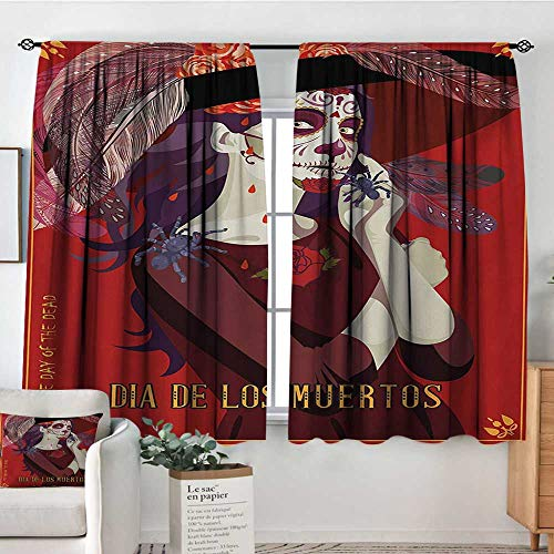 Day of The Dead Window Curtain Drape Skull of Dead Corpse Cute Girl with Hat and French Dress Door Curtain Blackout 55