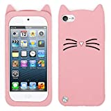 for iPod Touch 6 Case, iPod Touch 5 Case, Fashion 3D Cute Cartoon Mustache Cat Case, Animal Series Soft Silicone Bumper Shockproof Back Cover for iPod Touch 6th / 5th Generation (Mustache Cat Pink)