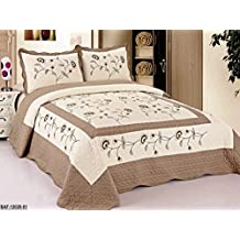 3pcs High Quality Fully Quilted Embroidery Quilts Bedspread Bed Coverlets Cover Set , Queen King (Beige/Taupe)