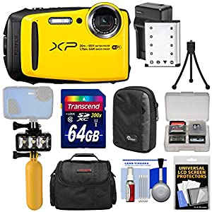 Fujifilm FinePix XP120 Shock & Waterproof Wi-Fi Digital Camera (Yellow) + 64GB Card + Battery & Charger + Diving LED Video Light + Buoy + Cases Kit
