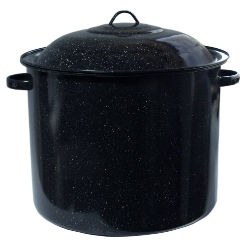 Cinsa Black Enameled Steel Stock Pot with Lid, 34 Quart - Factory Second