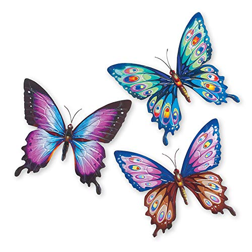 Colorful Butterfly Metal 3D Wall Art - Set of 3 Multicolor