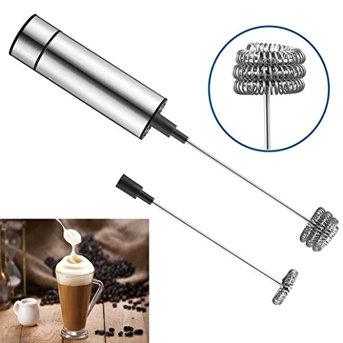 Handheld Milk Frother, Deruicent Stainless Steel Electric Foam Maker Battery Operated Drink Mixer for Coffee Tea Cappuccino Latte Hot Chocolate Kitchen