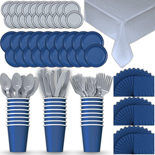(Paper Tableware Set for 24 - Blue & Silver - Dinner and Dessert Plates, Cups, Napkins, Cutlery (Spoons, Forks, Knives), and Tablecloths - Full Two-Tone Party Supplies Pack)