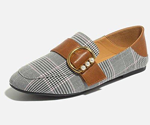 KUKI Arbeiten flache Schuhe des Plaid flachen Munds flache Schuhe des Schuhkursteilnehmerwindstudenten-Mädchens zusammen 2
