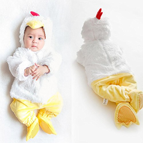 TRENDINAO Baby Toddler Infant Clothes Halloween Animal Chick Bodysuit Footies Playsuit Romper+Hat+Shoes Clothes Outfit Set (Rock Chick Costume Ideas)