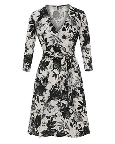 Womens Casual Floral Print Dress V-Neck 3/4 Sleeve Midi Wrap Dress with Belt Black