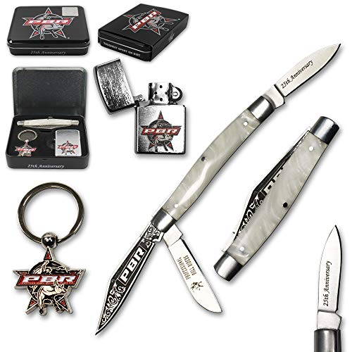 Pearl Tin Collectors - PBR Professional Bull Riders Pro Pocket Knife Gift Set with Keychain Lighter Cowboy Collector's Tin Box (Pearl)