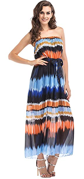 60902067867d FTVOGUE Women Fashionable Summer Beach Dress Gradient Color Off The Shoulder  Sleeveless Boho Long Maxi Dress with Belt  Amazon.co.uk  Clothing