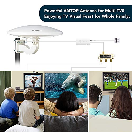 ANTOP 360° Omni-Directional Amplified Outdoor HDTV Antenna 65 Miles Range with Smartpass Amplifier & Built-in 4G LTE Filter Fit Home/RV/Attic Use (33ft Coaxial Cable, 4K UHD Ready) by ANTOP (Image #2)