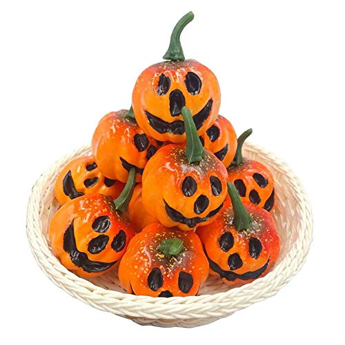(Toy West - 12pcs Pack Simulation Artificial Mini Foam Pumpkins With Carved Face Holloween Decor Photo Props - 4 Plant Candle Vegetables Foam Pumpkin Fruit Small Pearl Pumpkin & Pumpkin)