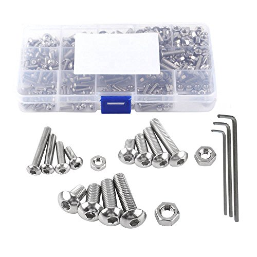 NUZAMAS 440 Pieces M3 M4 M5 304 Stainless Steel Hex Socket Button Head Bolts and Nuts Assortment & Allen Key Wrench Kit with Storage Box by NUZAMAS