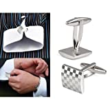 SODIAL(R) Mens Stainless Steel Business Shirt Silver Square Lattice Wedding Cufflinks