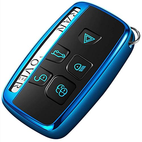 Intermerge Key Fob Cover for Range Rover Evoque Velar Sport Discovery Freelander2 LR4 Land Rover Sport and Jaguar XF XJ XE F-PACE F-Type 5-Buttons,Premium Soft TPU Protective Key Fob Case,Blue (Type Xf Jaguar)