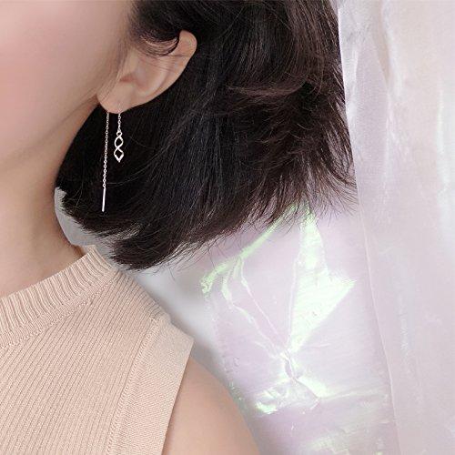 Double Helix Geometry Waves Creative Design s925 Silver Earrings earings Dangler Eardrop Ear Wire Long Women Girls Models Personality Students