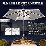 Cheap BenefitUSA 6.5′ Battery Patio Umbrella 54 LED Lighted Garden Tilt Crank Deck Outdoor Sunshade Balcony, Taupe