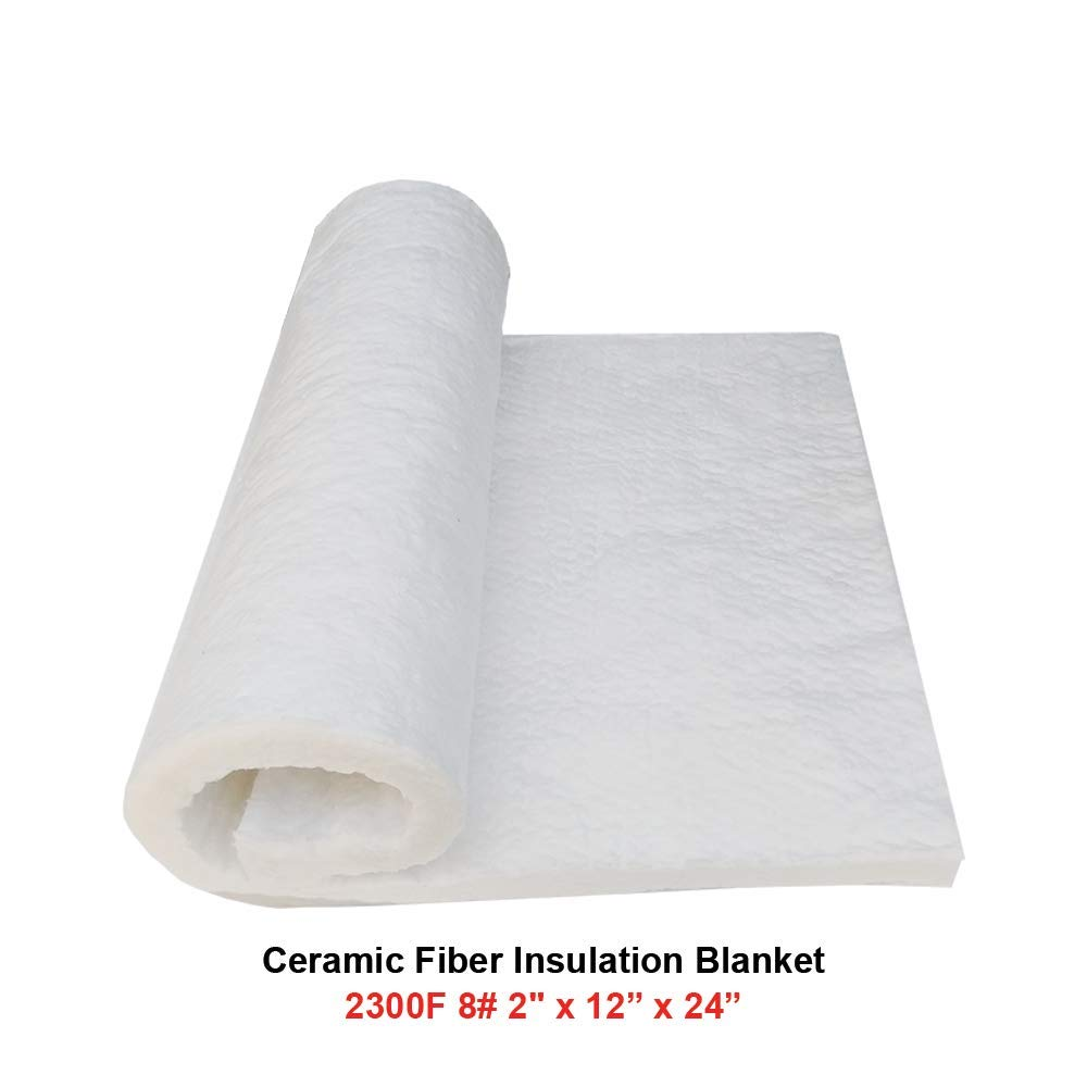 Ceramic Fiber Insulation Blanket 2300F 8# 2' x 12' x 24' for Wood Stoves, Fireplaces, Kilns, Furnaces