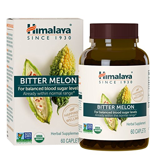 Himalaya Organic Bitter Melon/Karela, 60 Caplets for Balanced Blood Sugar Level, 660 mg, 1 Month Supply (1PACK) by Himalaya Herbal Healthcare