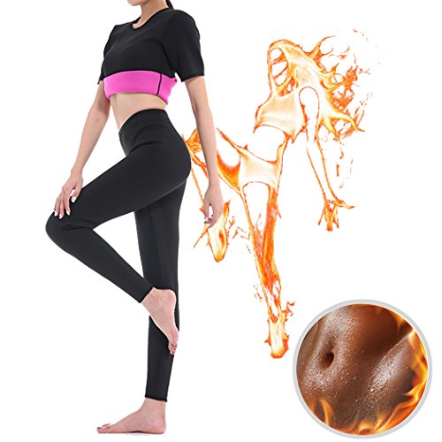 GoldFin Sweat Leggings Weight Loss Neoprene Pants Women High Waist Tummy Control Shapewear Physical Exercise Workout Burn Fat Sauna BS007 (S, Black+Fuchsia) (Effective Fat)
