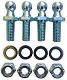 "(4 Pack) 10mm Ball Studs With Hardware - 5/16-18 Thread x 3/4"" Long Shank - Gas Lift Support Strut Fitting"
