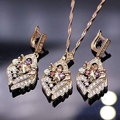 FUKAI Simple Fiesta Joyería Nupcial Champán Color Oro Rombo Colorido Cristal Zircon Collar Pendiente Conjunto para Mujeres