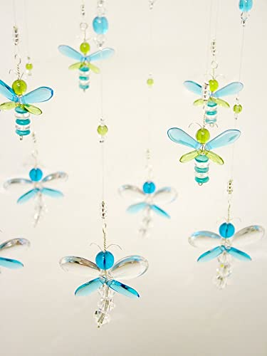 ... Nursery Mobile Crystal Baby Mobile Baby Shower Gift Swarovski Crystal  Suncatcher Blue Dragonfly Mobile Firefly Baby ...