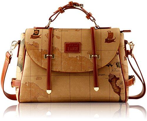 B.ANGEL Retro Vintage Style PVC Leather Map Women Fashion Crossbody Handbag Shoulder Bag - Style Retro Vintage