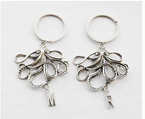(2 Octopus Keychains Octopus Keychain Set of 2 Nautical Keychains Best friend gifts Friendship gift Personalized Keychains Initial Keychains)