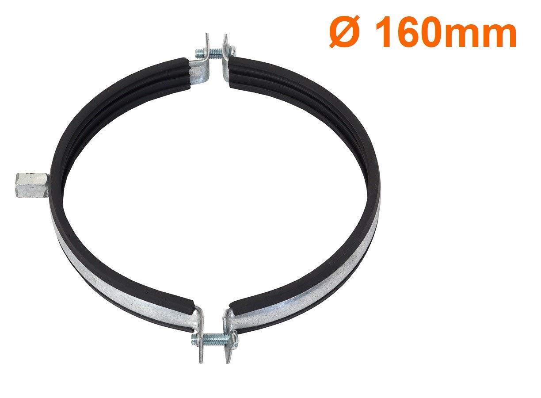 Abrazadera de tubo de 160 mm de di/ámetro ventilador soporte para tubo junta de goma