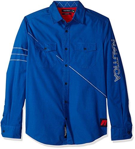 Nautica Men's Classic Fit Long Sleeve Heritage Logo Button Down Shirt, Monaco Blue, (Classic Fit Button)