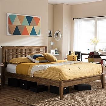 Amazoncom Baxton Studio Loafey Queen Platform Bed in Walnut