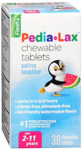 Pedia-Lax Children's Chewable Magnesium Hydroxide Laxative Tablets, Watermelon Flavor, 30-Count Boxes (Pack of 3)