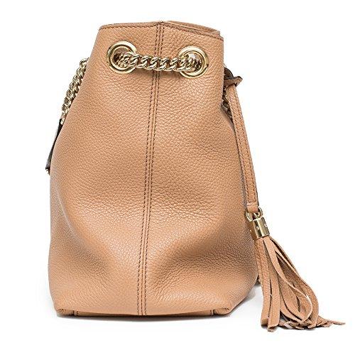 ... Gucci Camelia Camel Pebbled Leather Soho Shoulder Hand Bag Tassel ... 6757e256b7256