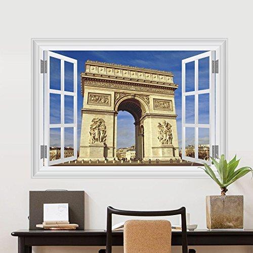 (LJLQ Window View Arc de Triomphe Wall Sticker Home Decoration Background Wall Tattoo Applique Imitation Window Wall Chart Poster)