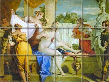 FlekmanArt Bathsheba Bathing by Ricci Sebastiano, Italian Painter Baroque, Art Ceramic Tile Mural 24