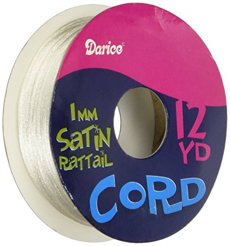 Darice 12-Yard per Roll Satin Rattail, 1mm, White