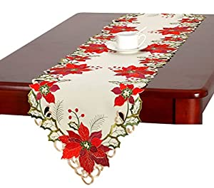 Christmas holiday embroidered poinsettia table for 120 table runner christmas