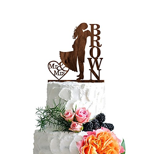 P Lab Personalized Cake Topper Mr. Mrs. Last Name Custom Romantic Hug Wedding Cake Topper Rustic Wood Decoration Keepsake Engagement Favors for Special Event Walnut Wood