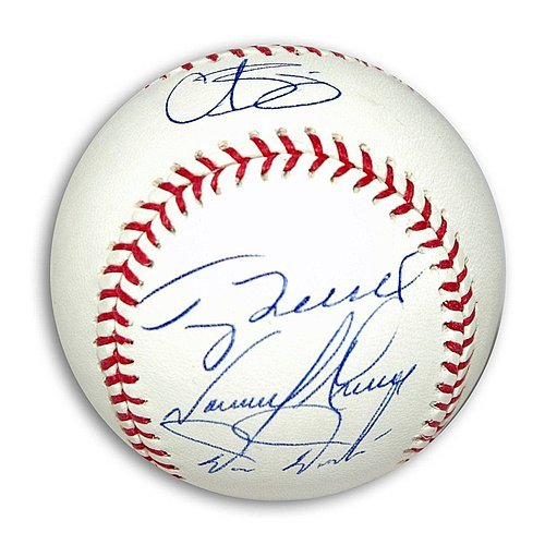 MLB Baseball Signed by Four Members of the 1993 Philadelphia Phillies: Curt Schilling, Terry Mulholland, Tommy Greene and Darren Daulton. - Autographed MLB Baseballs Curt Schilling Phillies