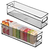 mDesign Slim Storage Bin with Built-in Handles for Organizing Soap, Body Wash, Shampoos, Lotion, Conditioners, Hand Towels, Hair Accessories, Body Spray, Mouthwash - 4' Wide, 2 Pack - Smoke Gray