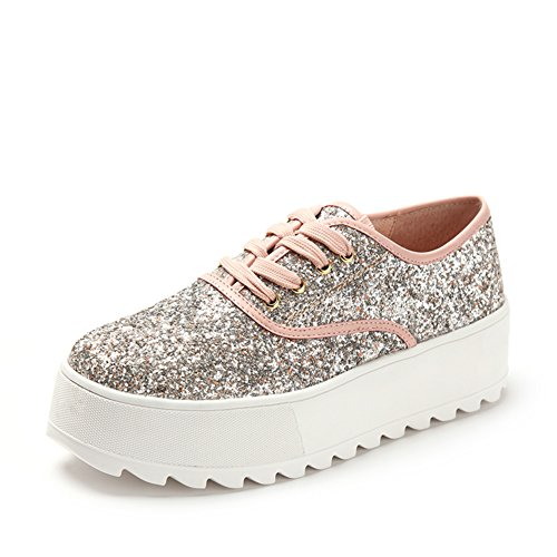 Zapatillas casuales de primavera/Brillo, zapatos de plataforma con suela gruesa/Con zapatos planos profundos Rosa