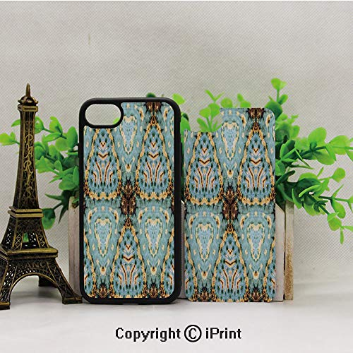 iPhone 8 Case,iPhone 7 Case,Classic-Tie-Dye-Batik-Motif-with-Bizarre-Oriental-Multiple-Icons-Aesthetic,Lining Hard Shell Shockproof Full-Body Protective Case Cover