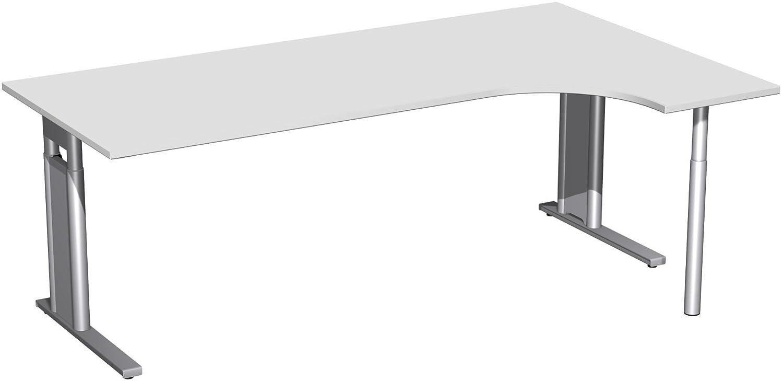 Geramöbel PC-Schreibtisch rechts höhenverstellbar, C Fuß Blende optional, 2000x1200x680-820, Lichtgrau/Silber