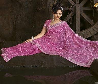 Pink Cocktail Evening Dress Designer Indian Sari Saree