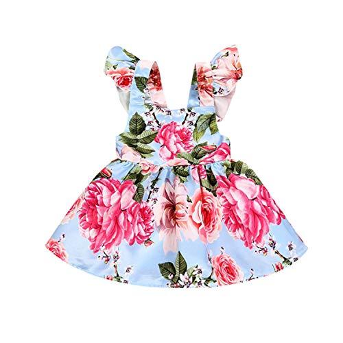 Newest Newborn Baby Girl Flower Strap Summer Dress Backless Ruffles Criss Cross Party Dress Girl Clothes Sundress 0-24M Multi 12M]()