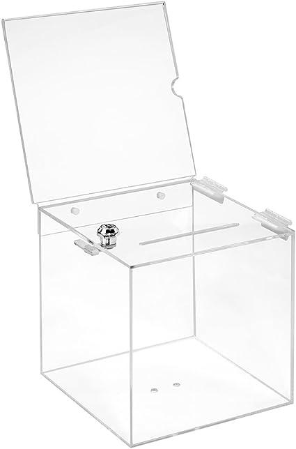 Votaciones de acrílico cristal en 200 x 200 x 200 mm con candado y topschild 210 x 210 mm – zeigis®/Dona Caja/caja/sorteo bicicletaDerbystar parte Box/transparente/transparente/acrílico: Amazon.es: Oficina y papelería