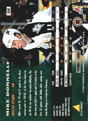1995-96 Pinnacle #156 Mike Donnelly at Amazon's Sports Collectibles Store